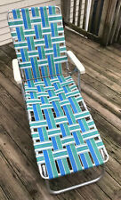 Vintage Sunbeam Aluminum Webbed Green/Blue  Beach Lawn Chair Chaise Lounge 70""