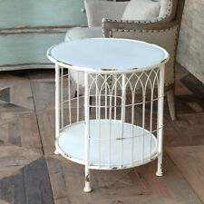 Metal Wire Side Table White Distressed