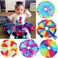Girls Kids Party Ballet Dance Wear Tutu Skirt Dress Colorful Pettiskirt Costume