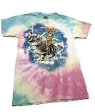 Tie Dye Kitty Cat With Ice Cream Cone Riding A Unicorn Cat Graphic