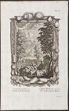 Scheuchzer -Genesis 30- Shepherd, Ram, Plants. 328, 1735 Physica Sacra Engraving