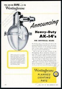 1949 Westinghouse AK-14 streetlight street light photo vintage trade ad