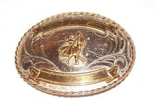 Nickel Silver Western Square Dance Dancing Cowboy Cowgirl Belt Buckle Vintage