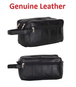 NEW MENS SOFT LEATHER TOILETRY TRAVEL WASH BAG TRAVEL KIT OVERNIGHT GIFT