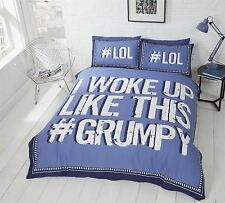 Striped Quilt Duvet Cover & Pillowcase Quirky Bedding Bed Set Teenagers Adults Single I Woke up Grumpy Blue