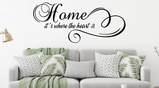 Home is where the heart is Text Vinyl Decal Wall Art sticker Lounge Home Decor