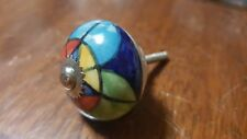 Hand-made Hand-painted Ceramic Drawer Knob - Multi colour design - S50
