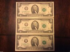 2003 SERIES A TWO DOLLAR BILL LOT  OF THREE $2 BILLS CONSECUTIVE SERIAL #'S UNC
