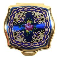 Vintage Stratton Pill Box Enamel Made in England Blue & Gold Flower Fleur De Lis