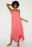 WAREHOUSE Womens New Pleated Maxi Midi Dress in Coral Sizes 6 to 16