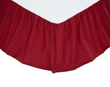 Solid Red Twin Queen or King Bedskirt : 100% Cotton Dust Ruffle Bed Skirt