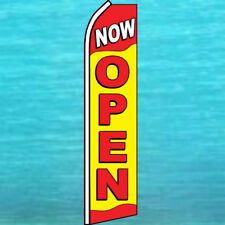 NOW OPEN Yellow / Red FLUTTER FEATHER FLAG Swooper Advertising Sign Bow Banner