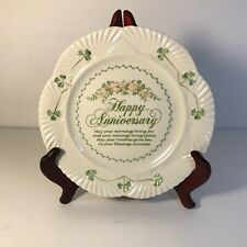 "Beleek ""Happy Anniversary"" Plate 9"" Porcelain Shamrock Design w/  Irish Blessing"
