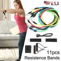 11Pcs Heavy Duty Resistance Band Tube Power Yoga Fitness Gym Exercise US Stock