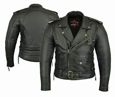 men's Motorbike Leather Jacket Motorcycle Protection Armour Chopper style Jacket