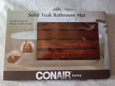 "CONAIR Home Solid Teak Bathroom Mat For In or Out of Shower/Tub - 21"" x 14"""