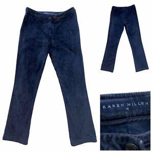 KAREN MILLEN Womens Navy Velvet Trousers Size 10 UK