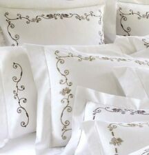 Sferra JANELLA (SET/2 Euro Continental Sham White Percale w/Khaki Embroidery New