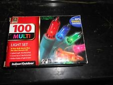 """Vintage New In Box """"Green Wire"""" 100 Indoor Outdoor Multi Colored Mini Lights"""