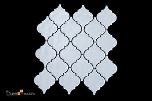 Lantern Handmade-Look Matt White Ceramic Mosaic Tile Sheet 286x306