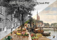 Adult Coloring Book (24 pgs) Landscape Vintage Small Town FLONZ GrayScale 117