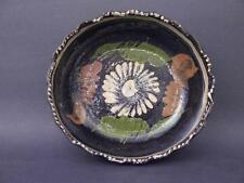 "Early to Mid 20th C Tlaquepaque, Mexico 8"" Serving Bowl, Black Glaze With Floral"