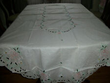 "VINTAGE TABLECLOTH  W/ EMBROIDERY ECRU COLOR SIZE  64"" x 104"" INCHES OVAL"