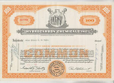 1959 & 1963 Hydrocarbon Chemicals Inc Stock Certificates (2) - New Jersey
