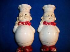 Vtg French Chef Porcelain Red Black White Salt Pepper Shaker Set Retro Japan