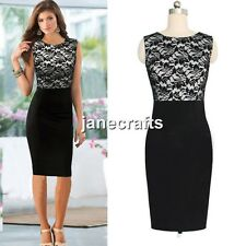 Sexy Lady Women Sleeveless Lace Slim Bodycon Cocktail Party Evening Pencil Dress