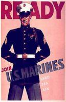 Vintage U.S. Marines Recruiting Poster WW 2