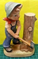 VINTAGE MIYOSHI COLLECTION JAPAN FIGURINE BOY CHOPPING TREE RETRO COLLECTIBLE