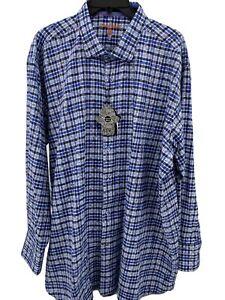 Men's Dress Shirt Size XLT Tall Blue Plaid Visconti Black Button-Up Top New