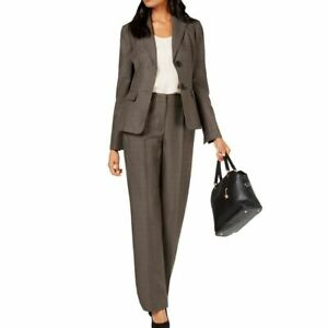 LE SUIT NEW Women's Dark Gray Two-button Notch-collar Pantsuit Two-Piece 2P TEDO