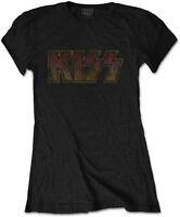 KISS Classic Vintage Band Logo WOMENS GIRLIE T-SHIRT OFFICIAL MERCHANDISE