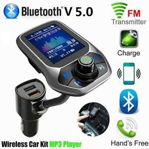 Car MP3 Music Player Bluetooth Receiver Fm Transmitter Dual USB ABS Black