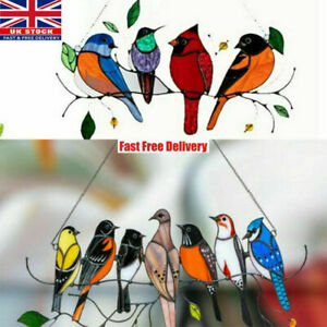 Multicolor Birds on a Wire High Stained Glass Suncatcher Window Panel Pendant UK