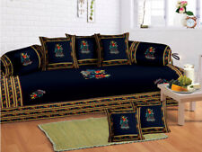 Indian Rajasthani Blue Cotton Diwan Set Diwan Cover Cushion Covers Bolster Cover