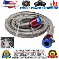 "3FT Universal 6AN Braided Oil Fuel Line Hose Stainless Steel 3/8"" Tube w/ Clamps"