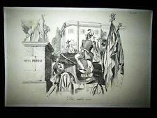 Incisione d'allegoria e satira Avvocato Galletti, Roma Don Pirlone 1851