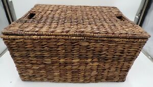"Pottery Barn Seagrass Lidded Basket Large Storage 20.75x 10.25"" Havanah #7999A"