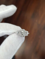 3ct Emerald Cut Diamond Halo Trilogy Gatsby Engagement Ring 14k White Gold Over