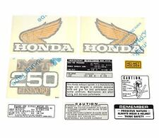 Decal Set - 1975 Honda MT250 Elsinore - Gas Fuel Tank Side Covers Warning Helmet
