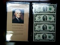 Uncut $2 Bills in a Beautiful Display Booklet