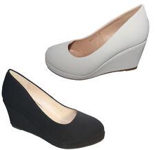 Zapatos de Novia Tacón Cuña Cuero Óptica Sencillo Noble Blanco y Negro B8011Y-SP