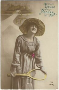 Attractive Woman Plays Tennis on Vintage French Sport 1900s Vintage Postcard