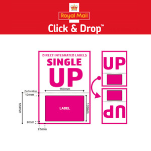 Royal Mail Click and Drop Labels - A4 Integrated Labels Style UP - 160mm x 105mm