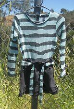 Limited Too Denim Skirt and Striped Bodice GIRLS Cotton Blend Belt DRESS SIZE 12