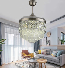 """New Listing42"""" Modern Invisible Ceiling Fans Crystal Led Chandelier w/ 3-Color Light Remote"""