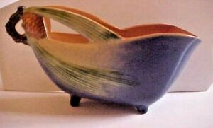 """ROSEVILLE POTTERY BLUE PINECONE FOOTED PLANTER NUMBER 454-7"""""""